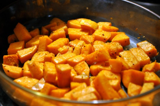 sweet potatoes out of the oven